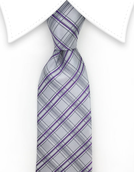 Silver Gray and Purple Plaid Necktie