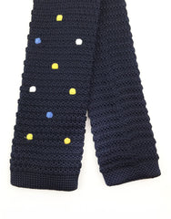 Navy Blue Polka Dot Knit Tie