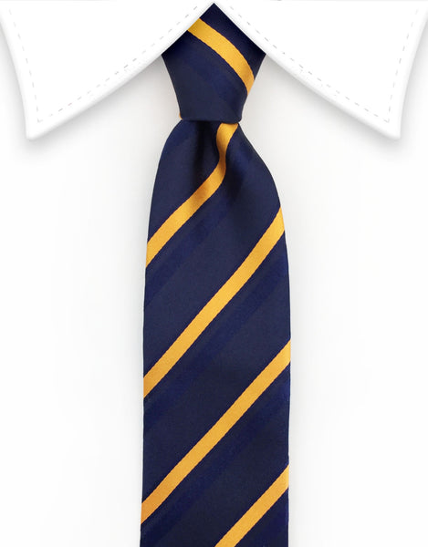 Navy Blue and Orange Skinny Tie
