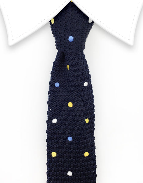 Navy Blue Polka Dot Knitted Necktie