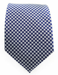 Silver and navy houndstooth tie