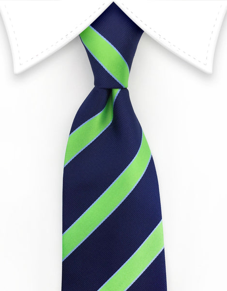 Navy Blue and Lime Green Tie