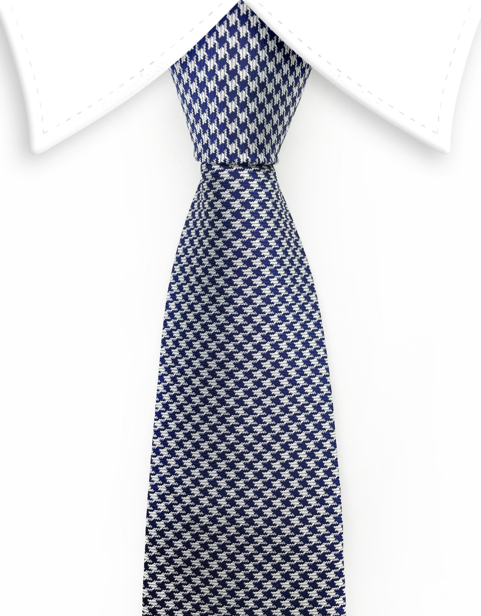 Navy blue and silver houndstooth tie