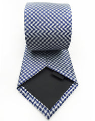 navy blue and silver necktie