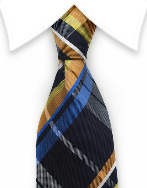 Navy blue, orange, yellow plaid tie