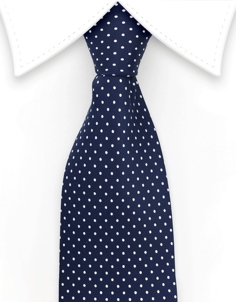 Navy & white pin dot necktie