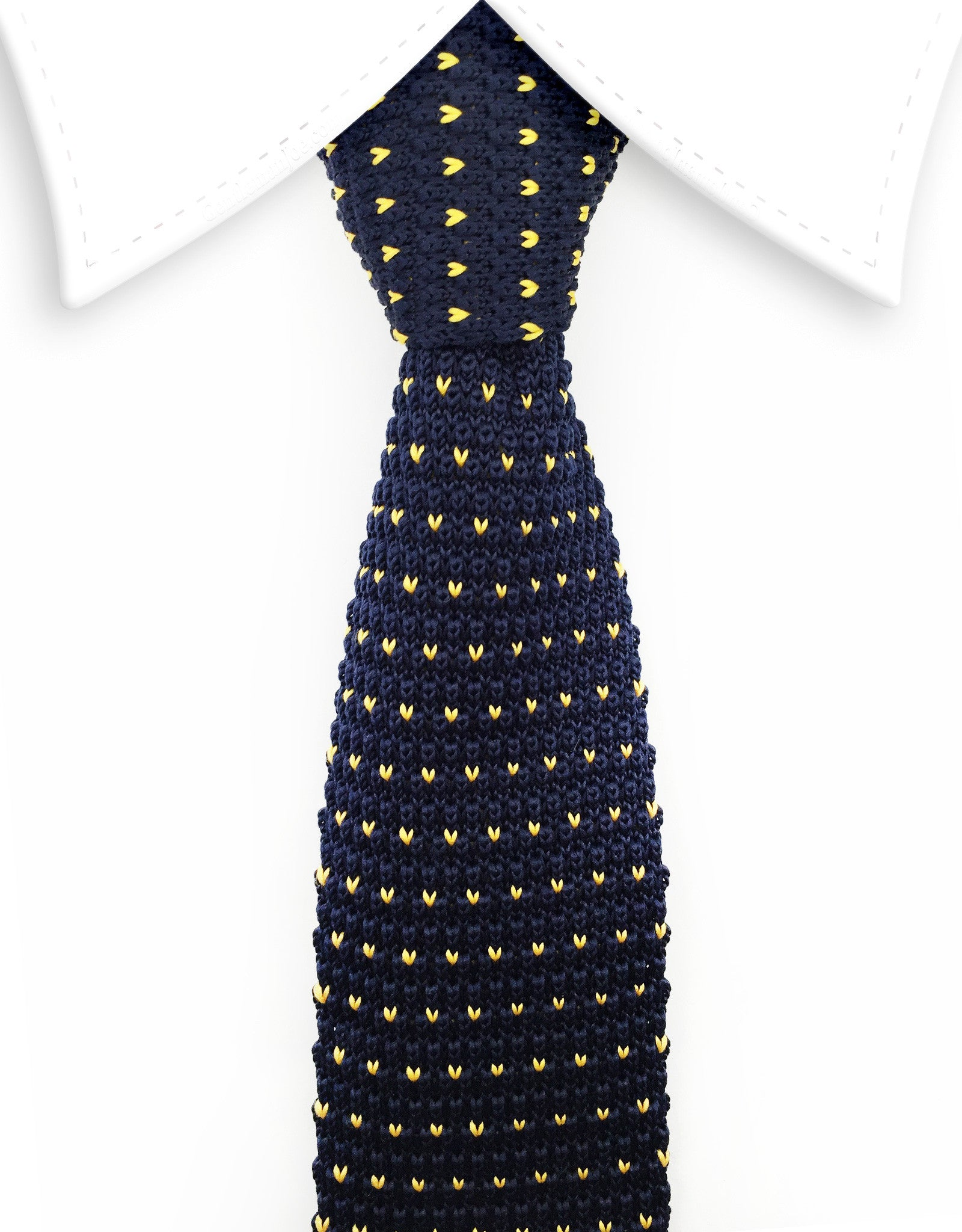 Navy Blue & Yellow Knitted Tie