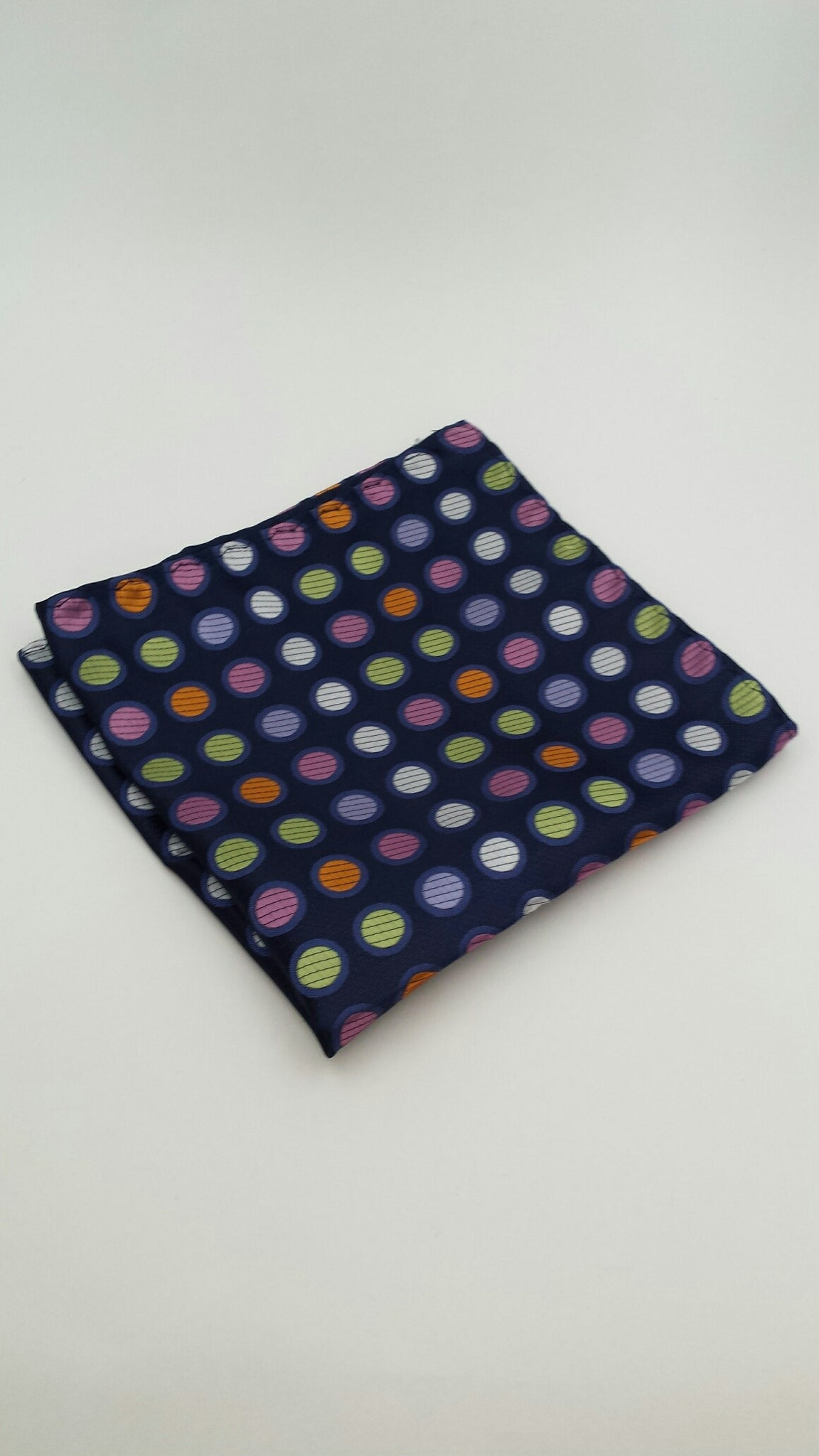 Navy Pocket Square with Colorful Polka Dots