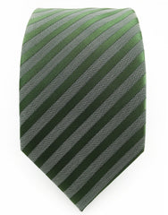 Olive green & charcoal striped tie