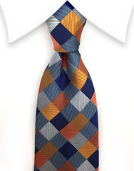 Blue, orange, silver tie
