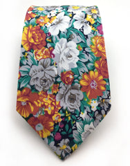 Green, White, Orange Flowered Tie