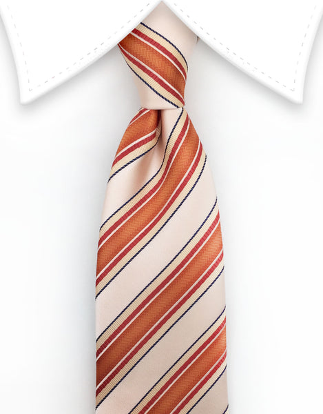 Peach and Orange Coral Striped Extra Long Ties