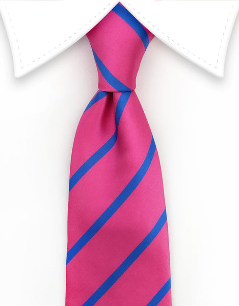 pink and blue striped mens tie