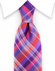 Purple Pink Red Plaid Extra Long Tie