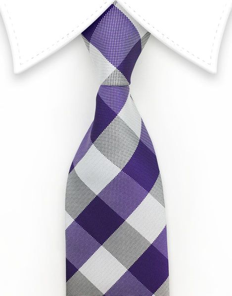 Purple & White Checker Tie
