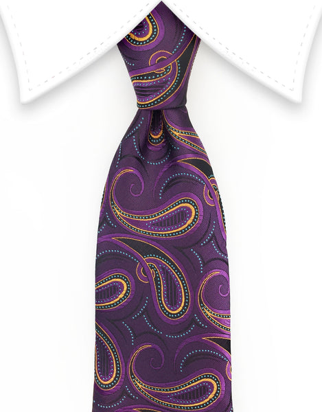 Grape Purple & Orange Paisley Tie
