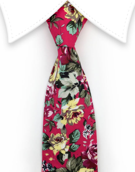 Raspberry Red Floral Necktie
