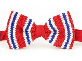 Red, Blue & White Knitted Bow Tie
