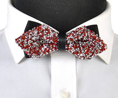 Diamond Tip Red and Silver Sparkling Bow Tie