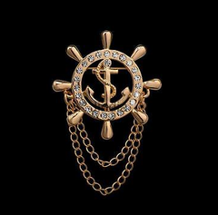 Captains Lapel Pin with anchor and chain
