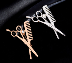 comb and scissors pin