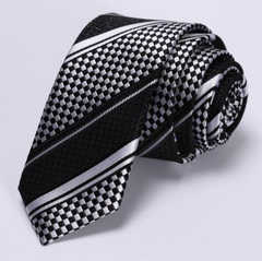 Silver & Black Narrow Necktie