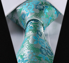 Silvery Green, Turquoise, Floral Silk Tie
