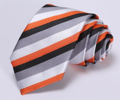Orange & Silver Striped Skinny Tie