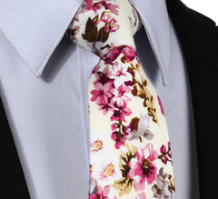 pale yellow and pink floral mens tie