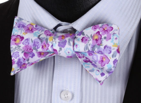 lilac floral bow tie