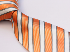 Orange & white big and tall tie