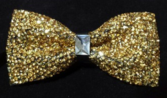 Gold Crystal Sparkly Bow Tie