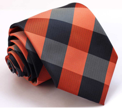 navy & orange checkered tie