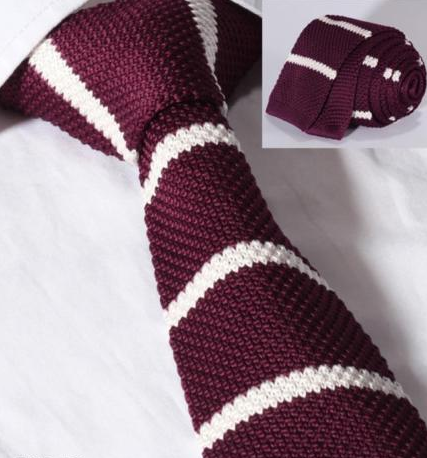 burgundy and white striped knit tie