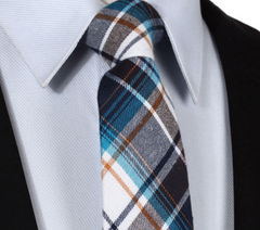 Brown, blue and white cotton plaid tie