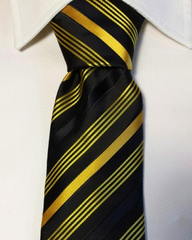 Black and Yellow Gold Striped extra long tie