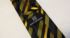 Gentleman Joe black and yellow gold long tie