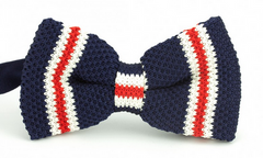 Navy Blue, Red, White Knit Bow Tie