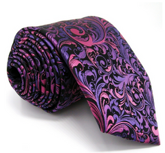 purple and pink floral tie