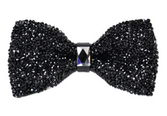 Black Crystal Bow Tie