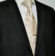 champagne tie with paisley print