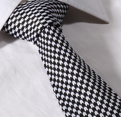 black and white houndstooth knit tie