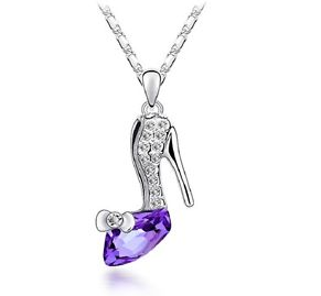 purple crystal ladies stiletto shoe pendant with chain