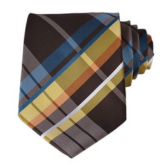 brown, yellow, orange, blue plaid tie