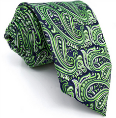 navy blue and green paisley necktie