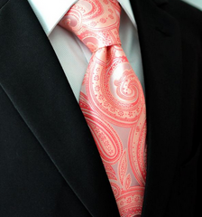 coral pink paisley necktie