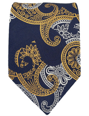 Navy blue, orange silver paisley tie