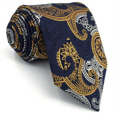 navy blue, orange gold, silver floral tie