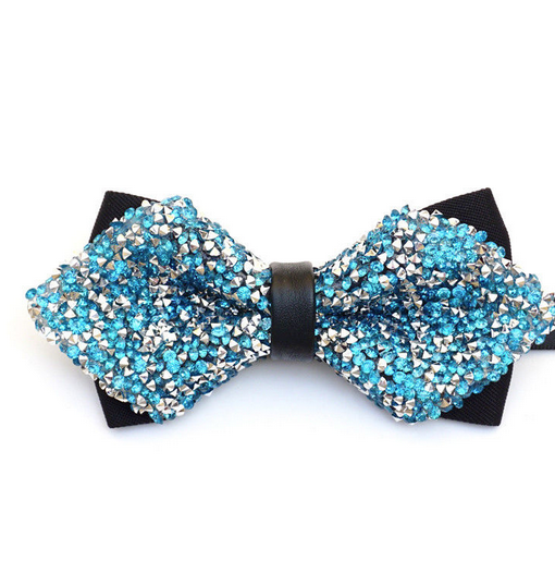 turquoise crystal bow tie