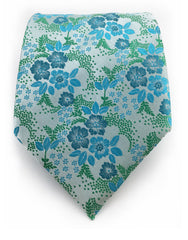 Green & Turquoise Floral Necktie